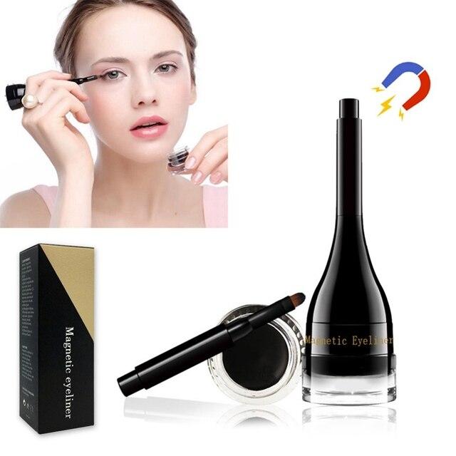 Negro impermeable delineador de ojos magnético máscara maquillaje belleza Comestics herramientas cosméticas de larga duración para sombra de ojos