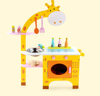 Baby Toys Giraffe Kitchen Wooden Toys Furniture Set Simulation Kitchen / Food Set Assemble Play House Educational BirthdayGift