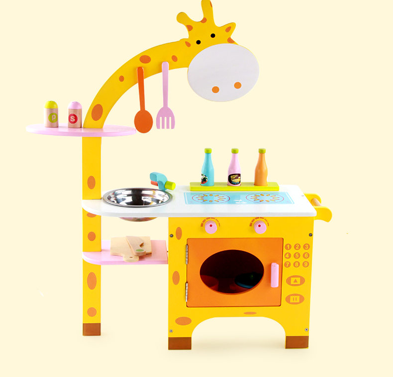 Baby Toys Giraffe Kitchen Wooden Toys Furniture Set Simulation Kitchen / Food Set Assemble Play House Educational BirthdayGift kitchen simulation toys for children cake decorating wooden toys afternoon tea set birthday cake baby toysgift