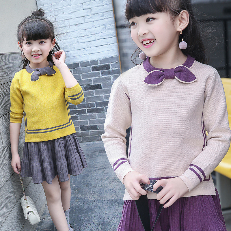 где купить Girls Sweater Clothing Set Size 4 to 14 Years Long Sleeve Stripe Yellow Purple Sweater Skirt Suit for Girls Kids Clothes 56A7A дешево