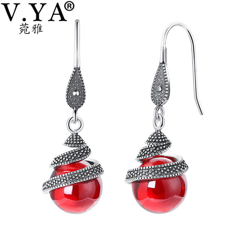 V.YA Vintage 925 Sterling Silver Red Earrings Round Bead Shape Retro Drop Earrings Dangles for Women Female Jewelry Wholesale 2017 african wholesale round silver plated rhinestone with square shape earrings jewellery sets for women