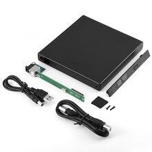480 Мбит/с Портативный 12,7 мм SATA HDD Мобильный телефон ПК CD-ROM оптический привод чехол Тетрадь ABS жесткий диск для настольного компьютера USB 2,0 Ноутбук корпус для DVD