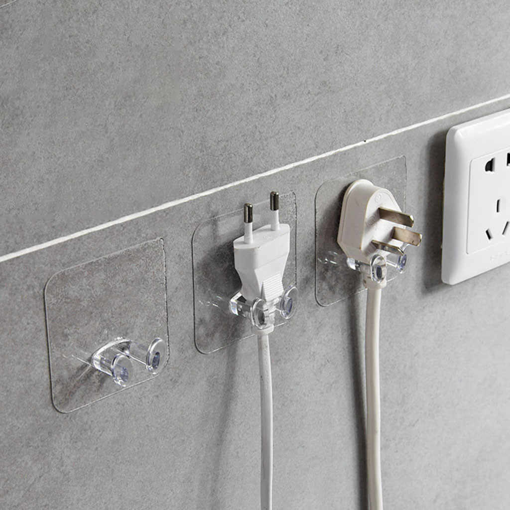 6pc Wall Storage Hook Power Plug Socket Holder Wall Adhesive Hanger Home Office Towel Key Hooks Kitchen Organizer Storage