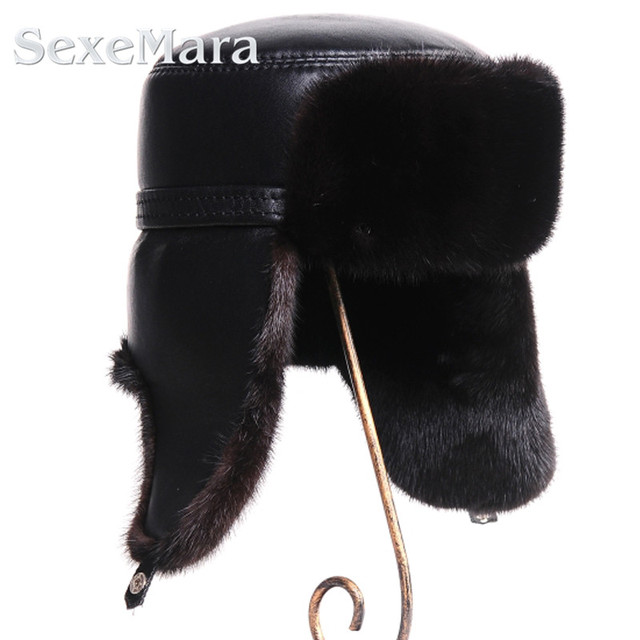 2017 Winter brand new natural mink fur cap for men real fur cap warm enough genuine leather cap simple and casual