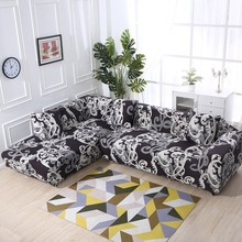 All-inclusive Black Royal Stretch L Shape Sofa Covers For Living Room Elastic Sectional Sofa Slipcovers 2PCS Cushion Covers(China)