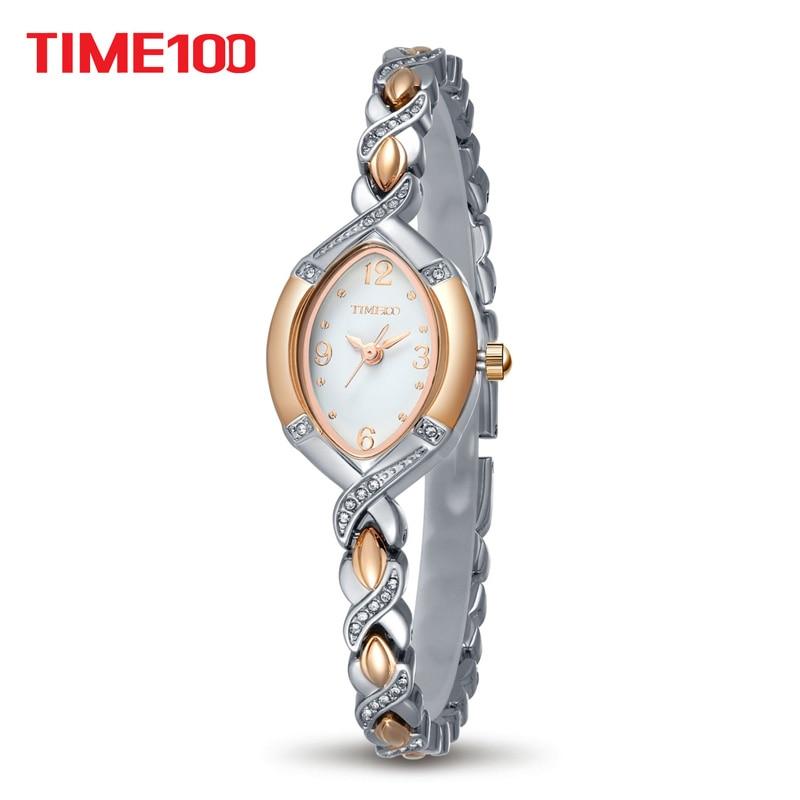 TIME100 Կանայք Watch Quartz պարզ ոճ Ոսկե արծաթե ժամացույց Crystal Dial Rhinestone Ալյումինե ժապավեն Կանանց ժամացույցներ relogio feminino