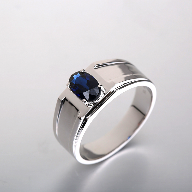 2017 Robira Brand New Engagement Ring for Men Vintage Jewelry 18K White Gold Natural Sapphire Engagement Wedding Rings