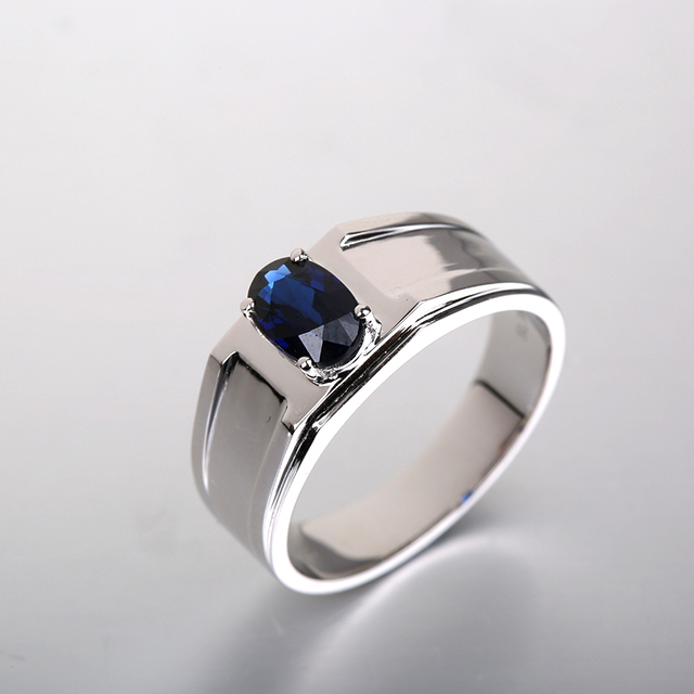 2017 Robira Brand New Engagement Ring For Men Vintage Jewelry 18K White  Gold Natural Sapphire Engagement