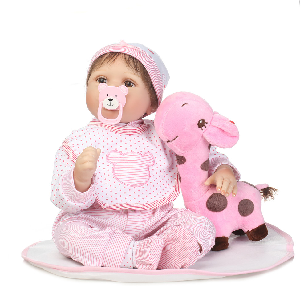 Reborn silicone babies dolls 22inch super quality pink suit adorable fake infant menina play house toys Xmas presents for saleReborn silicone babies dolls 22inch super quality pink suit adorable fake infant menina play house toys Xmas presents for sale