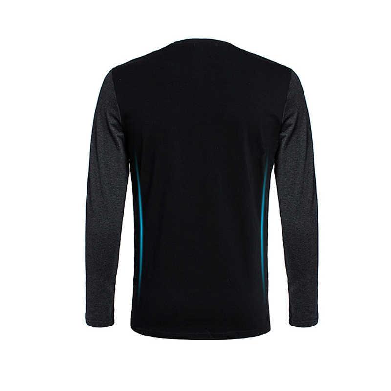 BROWON סתיו קוריאני גברים חולצה בציר סגנון טלאים שחור & אפור O-צוואר ארוך חולצת טי גברים בגדי 2019 בתוספת גודל m-5XL