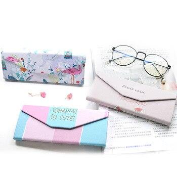New innovative folding glasses case cute fresh mirror glasses  sunglasses triangle glasses box student simple glasses case недорого