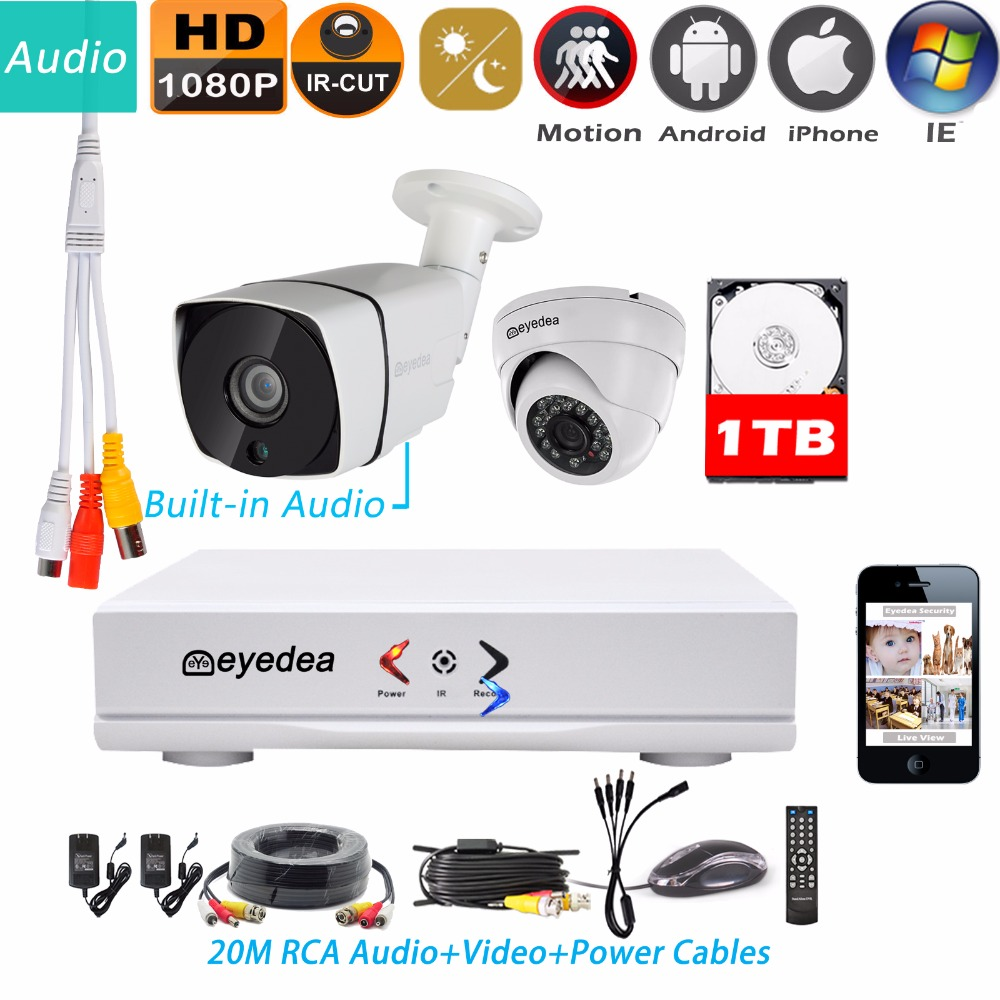 Eyedea 4CH HDMI DVR NVR Recorder 1080P 5500TVL Bullet Indoor Night Vision Dome Outdoor Waterproof CCTV Security Camera System 1T