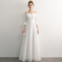 Robe De Soiree White Lace Evening Dress 2019 New A line Floor Length Evening Gown For Women Formal Dress vestidos LYFY16
