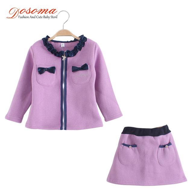 86045e75df0 US $23.99 |Tracksuit for girls brand woolen children girls clothing sets  autumn winter baby girl coats and jackets skirt set kids clothes-in  Clothing ...