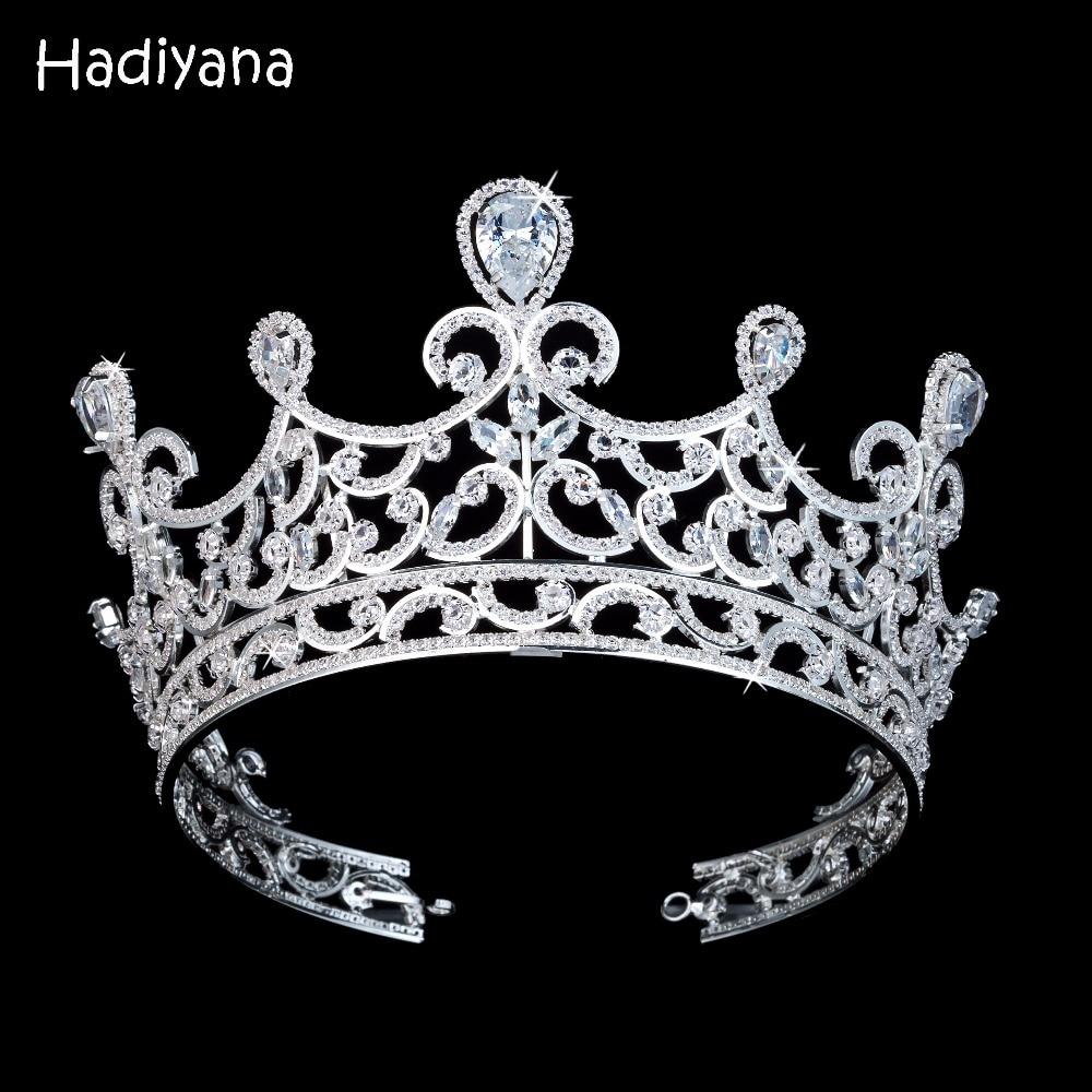 Hadiyana Luxury Sparkling CZ Crystal Wave Bridal Tiaras Crown Hair Accessories Big Diadem Crowns for Women Girls Wedding BC3675