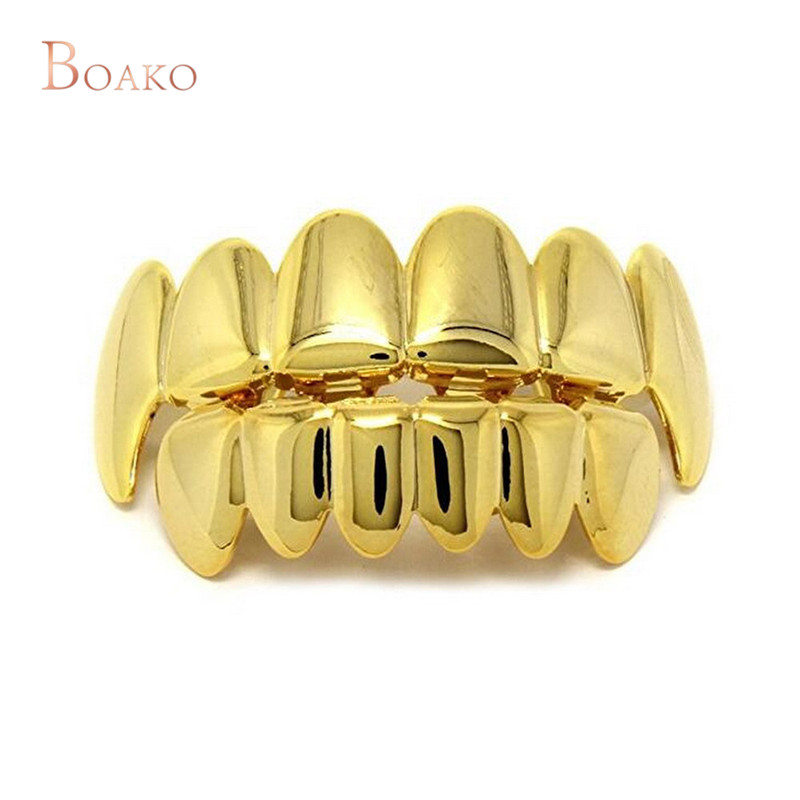 HOP Gold Teeth Grills Top & Bottom Tooth Grills Dental Cosplay Vampire Teeth Caps Rapper Halloween Party Jewelry Gift Z4 image