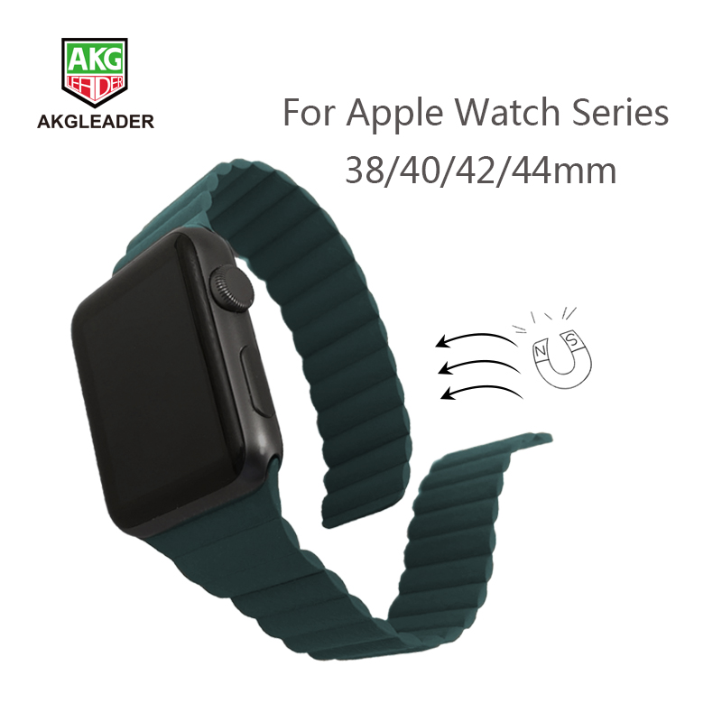 Newest Watch Strap For Apple Watch 4 5 40/44mm Leather Double Magnetic Clasp Wrist Bands For Apple Series 1 2 3 Watchband 42mm