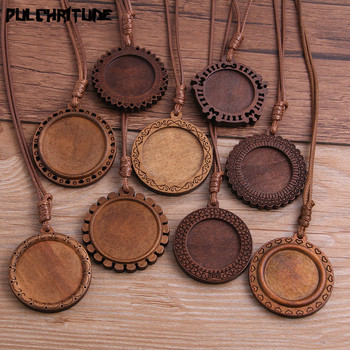 2pcs 25/30mm Inner Size Wood Cabochon Settings Blank Cameo Pendant Base Trays With Leather Cord For Jewelry Making 5pcs wood cabochon settings fit 25mm glass blank cameo necklace pendant base trays with leather cord for diy jewelry making