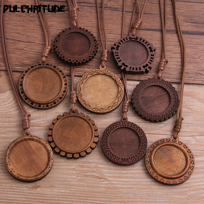 PULCHRITUDE 2pcs 25/30mm Inner Size Wood Cabochon Settings Blank Cameo Pendant Base Trays With Leather Cord For Jewelry Making