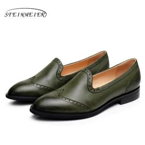 Image 4 - Yinzo Vrouwen Flats Oxford Schoenen Dame Echt Lederen Sneakers Dames Brogues Vintage Casual Schoenen Schoenen Voor Vrouwen Schoenen 2020