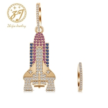 Zhijia new colorful creative crystal rhinestone asymmetric rocket design stud earrings for women party gifts pair of stylish rhinestone flower asymmetric design earrings for women