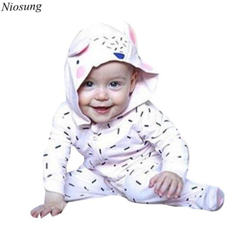2017 Fashion Kids Infant Baby Boys Girls Print Hood Long Sleeve Romper Clothes High Quality BeBe Clothing