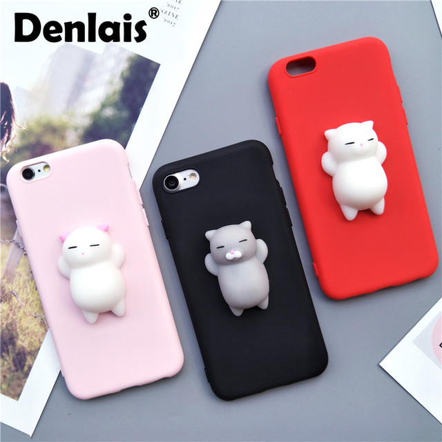 new product 16909 92edd US $1.59 |Cute 3D Squishy Cat Silicon Cartoon Case For iPhone X 8 7 Plus  Black Pink Red Slim Soft Phone Case For iPhone 5 5S 6S Plus 6Plus-in Fitted  ...