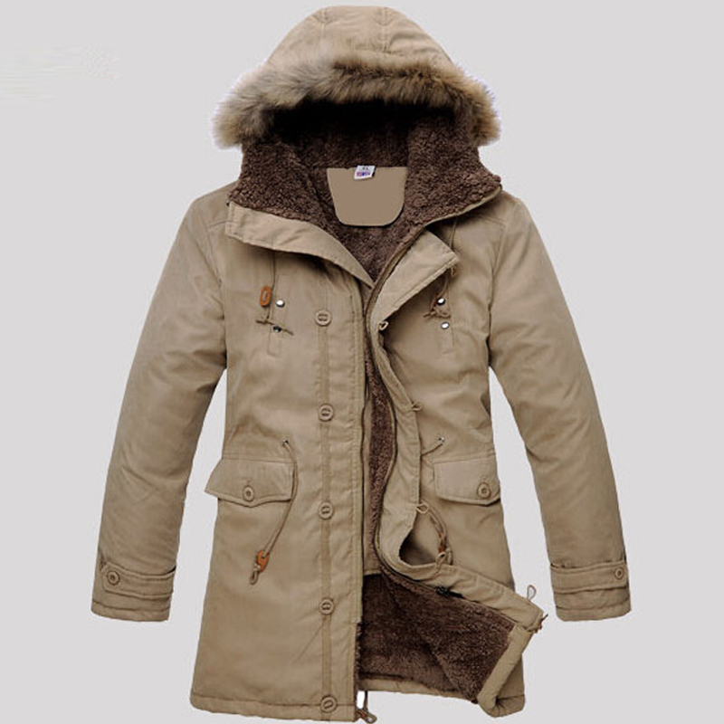 2017 New Men's Parkas Long-term Cotton Clothing Youth Thick Hooded Students Jacket High-quality Fabric Quality Cotton Warm Cold