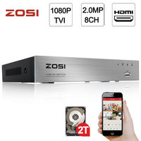 ZOSI 1080P 2 0MP 8CH High Definition Hybrid 4 In 1 HD TVI DVR HDMI Network