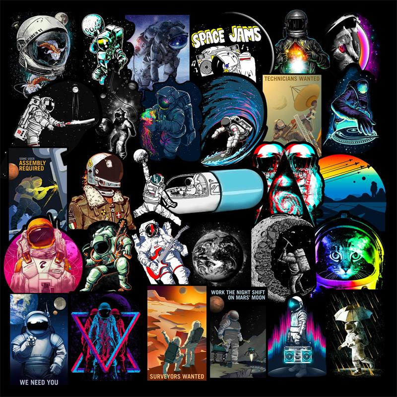 50 Pcs Outer Space Stickers for Laptop Car Motorcycle Skateboard Fridge Luggage Backpack Phone Bike Decal Cool Creative Stickers