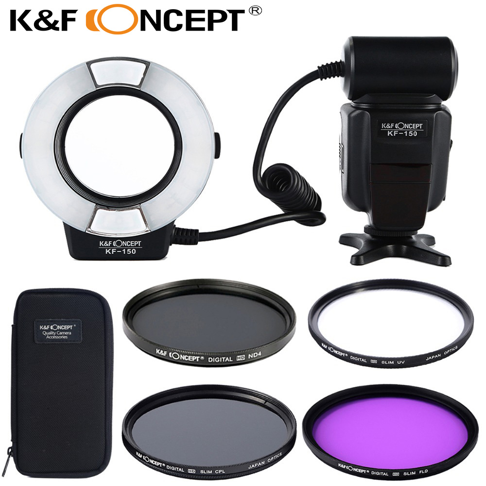 KF-150 Ring Flash Light+58mm UV+CPL+FLD+ND4 filter lens for Canon EOS 6D 7D 60D 70D 450D 500D 550D 600D 650D 700D 1100D T5i T4i m42 chip adapter af iii confirmation ring for canon eos ef 60d 550d 7d 5d 1100d