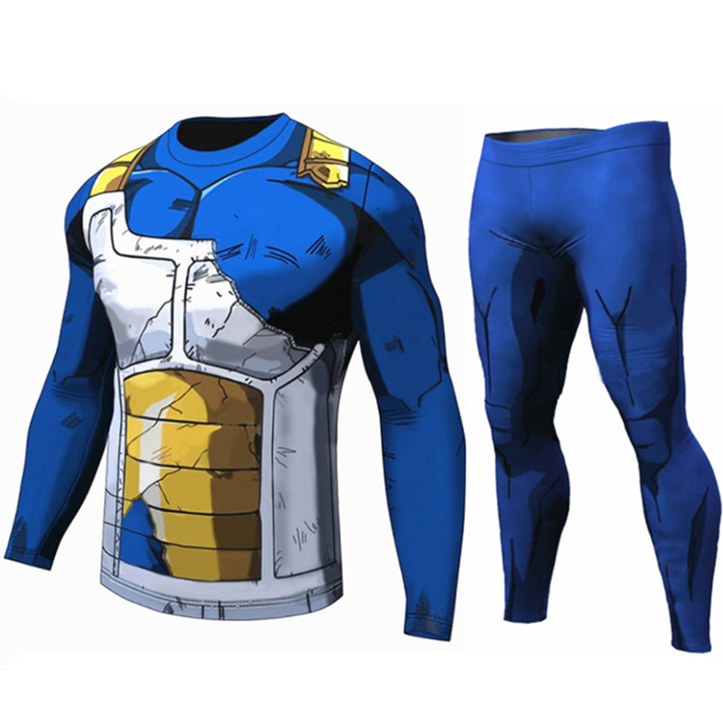 Dragon Ball T Shirt Homme Compression Costume Vegeta Tshirt Son Goku Saiyan T-shirts Fitness Leggings Shorts Sportwear