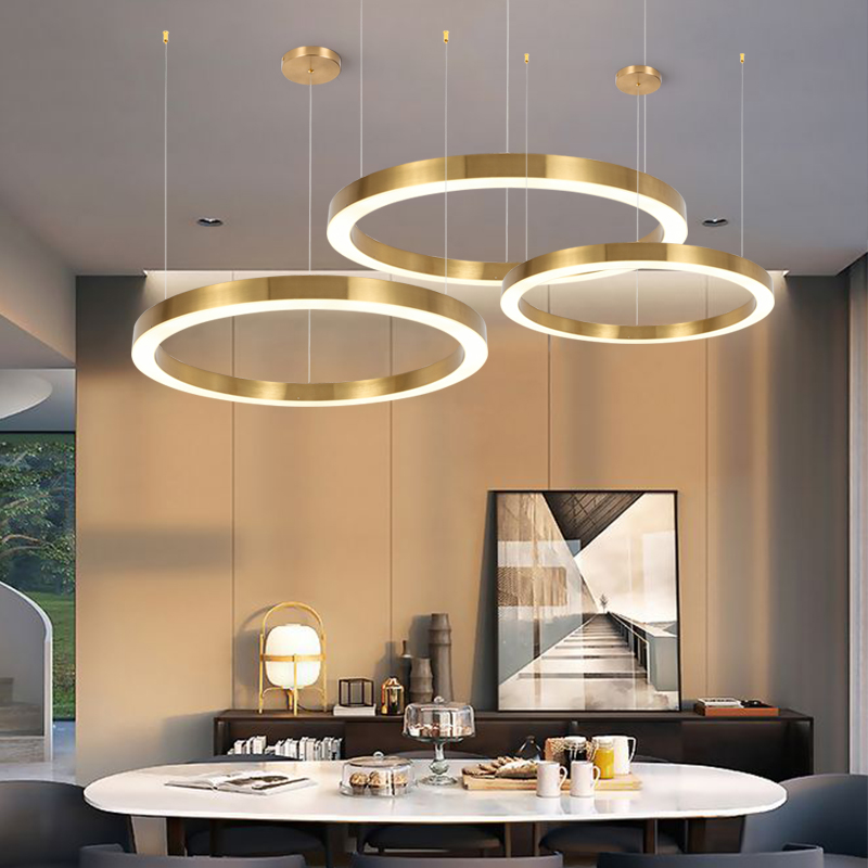 Modern LED Chandelier Iron Ring Pendant Chandelier Lighting Circle For Living Room Dining Room Business Club Kitchen Hotel Lobby