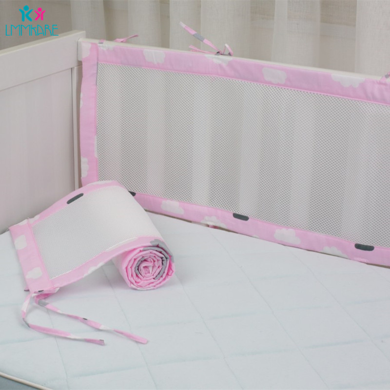 2Pcs Cotton&Polyester Breathable Mesh Baby Crib Bumper Safety Crash Barrier Safety Crib Rail Summer Newborn Babies Bumpers Sets