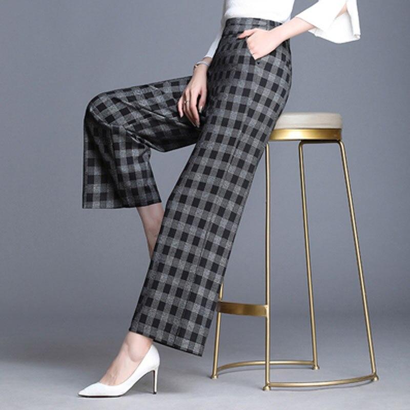 2019 Spring European Style Women Trousers Anklet-Length   Pants   Plaid Loose   Wide     Leg     Pants   High Waist Female Capris Plus Size 6XL