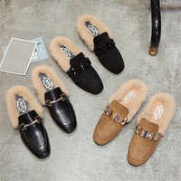 autumn winter new real fur mules women lazy shoes loafers comfort pregnant shoes women furry slides fluffy hairy flip flops