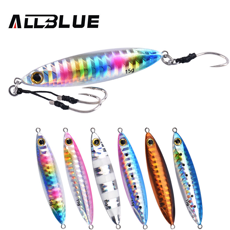 ALLBLUE SLOWER WIDE Metal Slow Fishing Jig Cast Spoon 10G 15G Artificial Bait Shore Casting Jigging Lead Metal Bass Lure Tackle