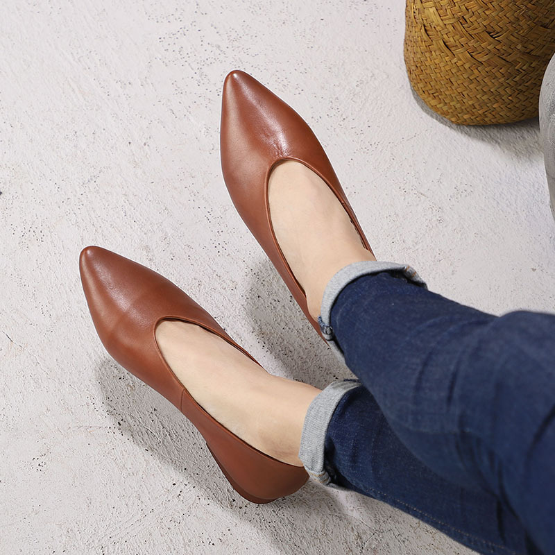 Chaussures Talons Bout kaki À Bas Slip Paresseux Femmes Main La Pointu Appartements Cuir vert Véritable Noir En Sur Printemps Occasionnels 4nx60F