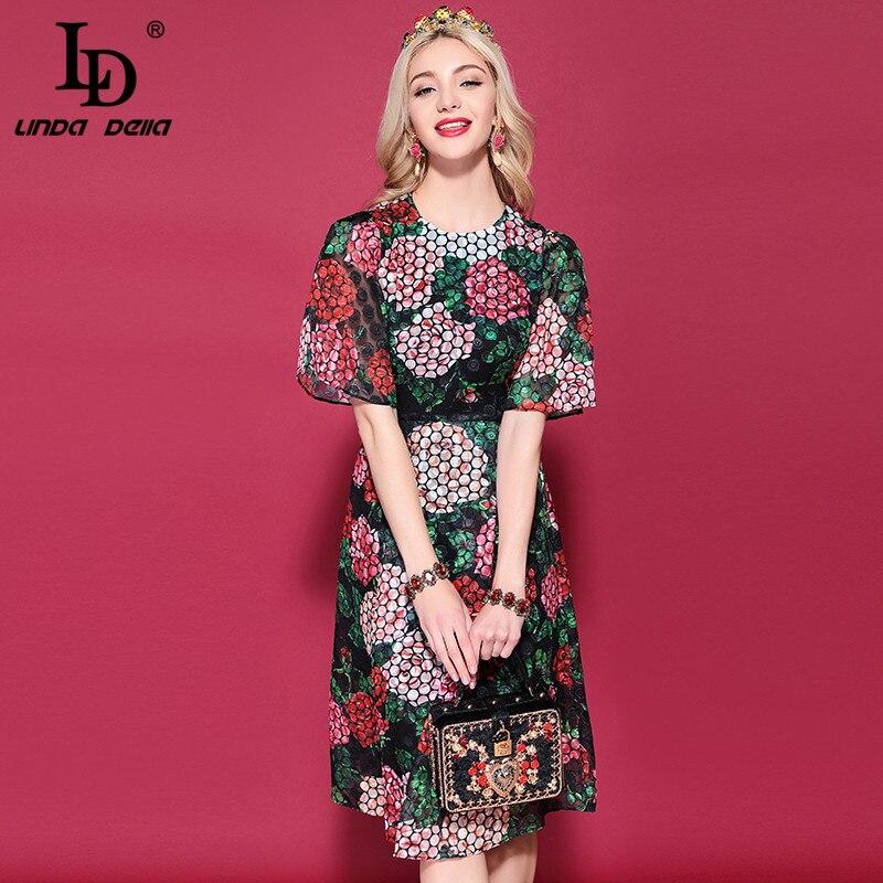 LD LINDA DELLA Vintage Elegant Floral Print A-Line Dress 1101913