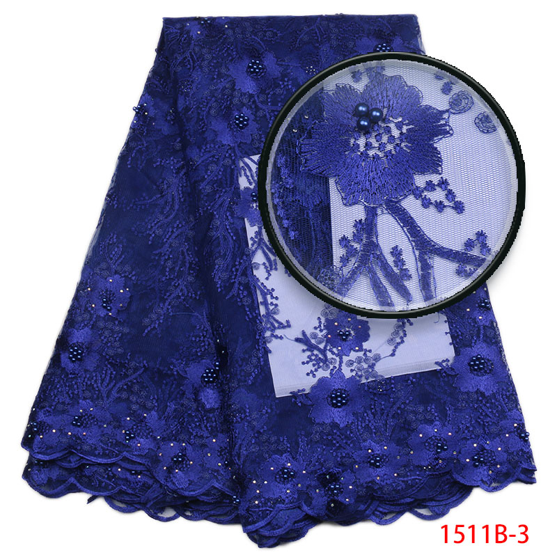 New Arrive Women Evening Dress Embroidered Mesh Fabric 2018 Royal Blue French Milan Tulle Lace Fabric 5Yards GD1511B-3
