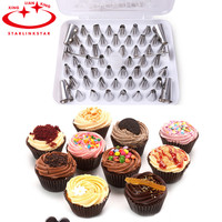 52Pcs Set Stainless Steel Russian Nozzle Icing Piping Nozzles For Pastry Cake Decorating Tool Bicos De