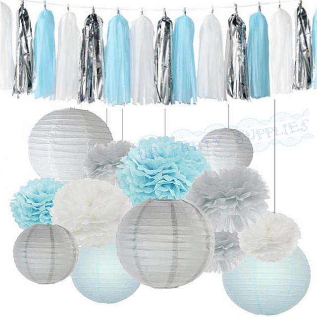 1 Set Boy Baby Shower Decoration Kits Light Blue White Tissue Paper Pom Lanterns Tel Garlands For Frozen Themed Party