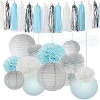 1 Set Jongen Baby Shower Decoratie Kits Lichtblauw Wit Tissuepapier Pom Pom Lantaarns Tassel slingers voor Bevroren Thema Party