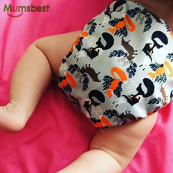 [Mumsbest] 2019 New Baby Cloth Diapers Adjustable Cartoon Foxes Cloth Nappy Washable Waterproof Reusable Babies Pocket Nappies