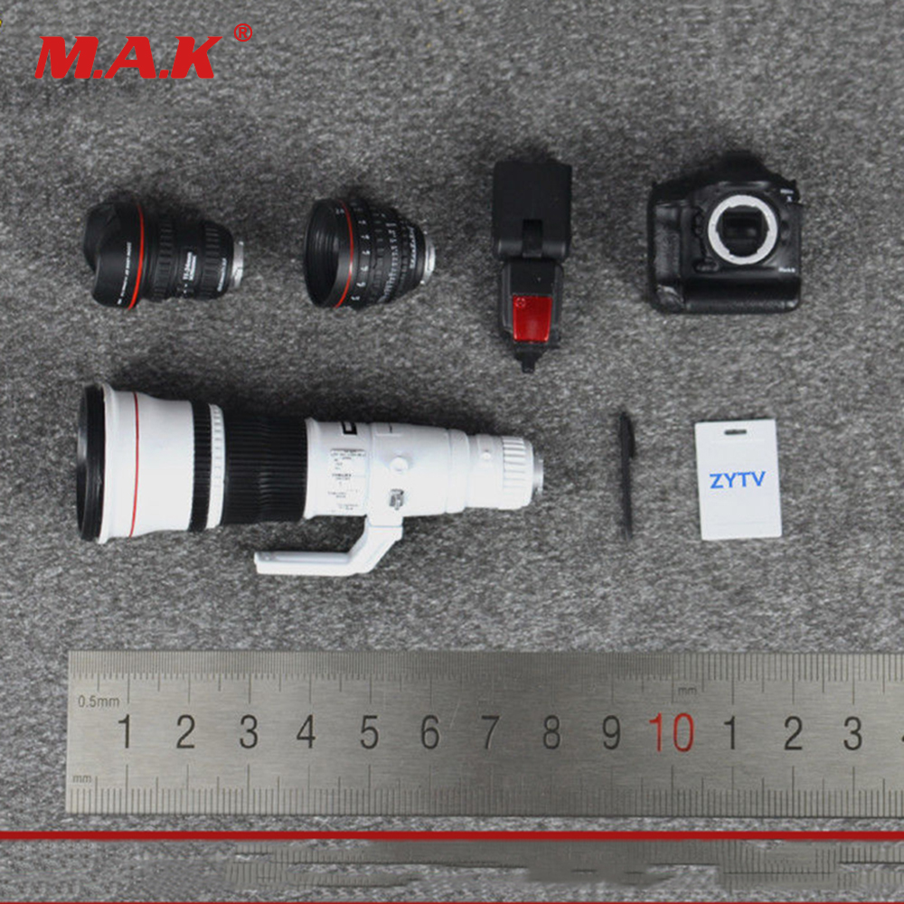 1/6 scale digital SLR camera set with lens and flash model toy fit for 12 action figure doll ZY16 20 accessories