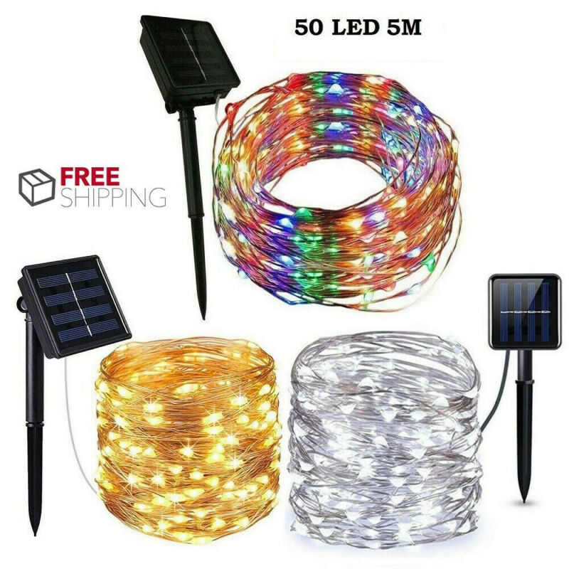 5M Long  50 LED Solar String Lights Waterproof Copper Wire Fairy Outdoor Garden
