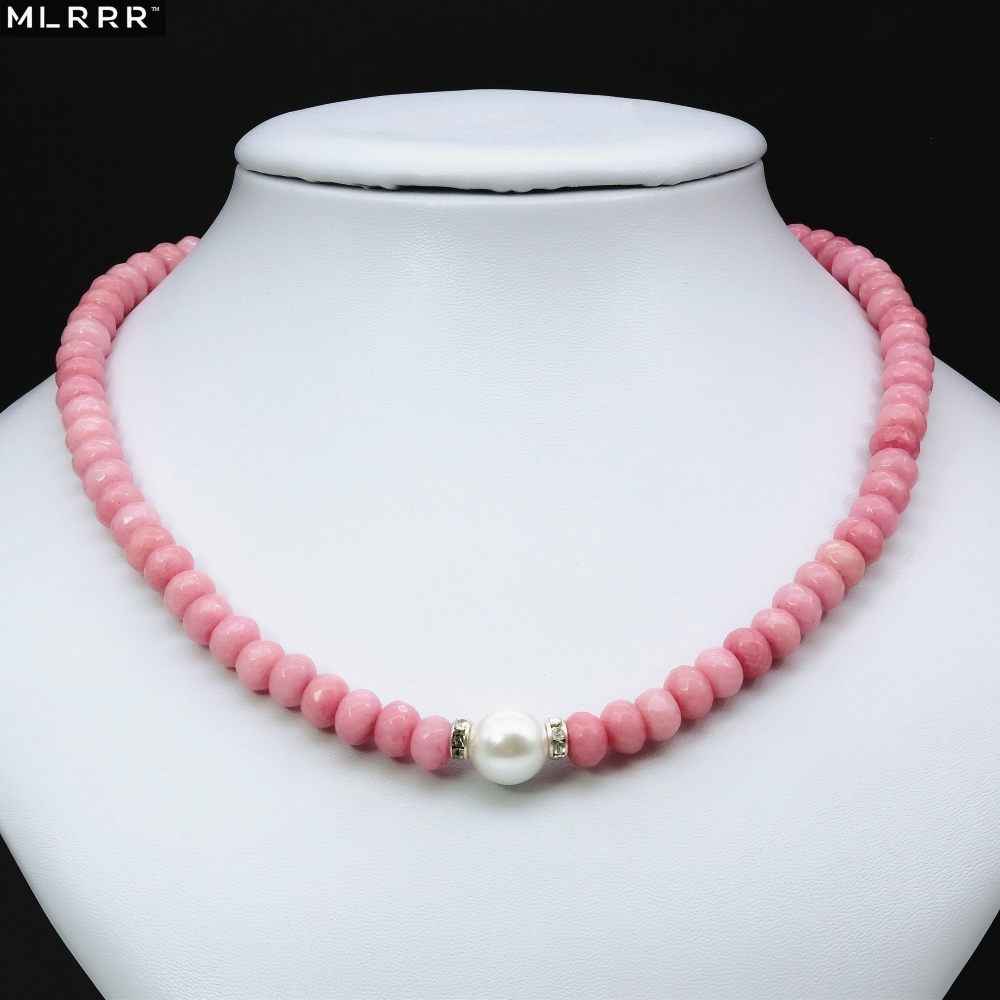 Vintage Classic Natural Stone Jewelry Noble Pink Rhodochrosites Beaded with Shell Pearl Chain Choker Necklace