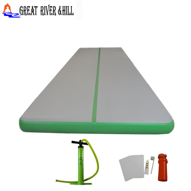 cheap  inflatable tumbling track  fitness air track mat  with free pump for sale 10m x 1.8m x 0.1m