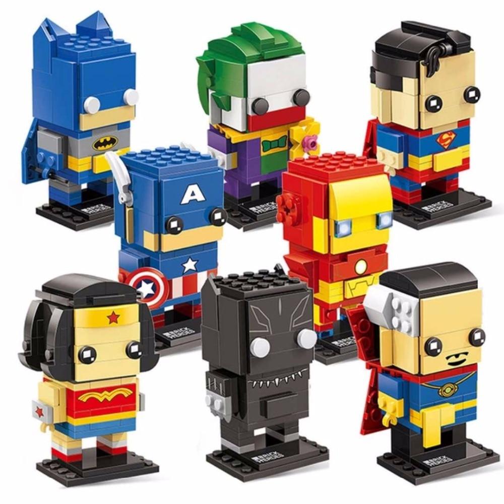 Decool Batman Iron Man Super Man Blocks Bricks Headz military Action Figures Toy for Children Fit for Lego for minifigure Marvel
