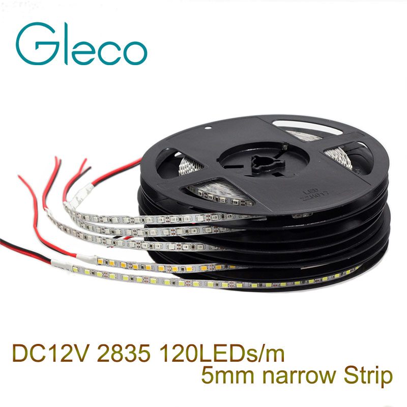 5mm Narrow Width DC12V LED Strip 2835 120led/m 5Meters Flexible Strip Light White,Warm White,Blue,Green,Red IP20 No Waterproof